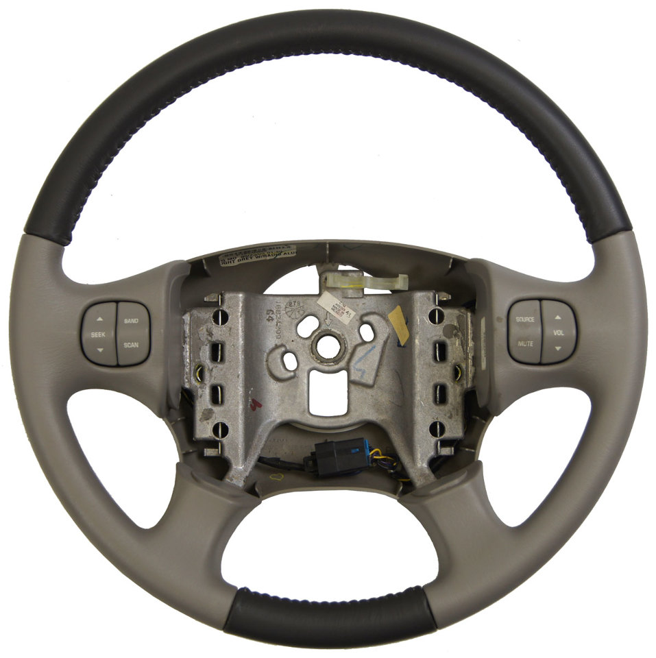 2002 2003 Buick Rendezvous Steering Wheel Two Tone Grey Leather W Audio Switches