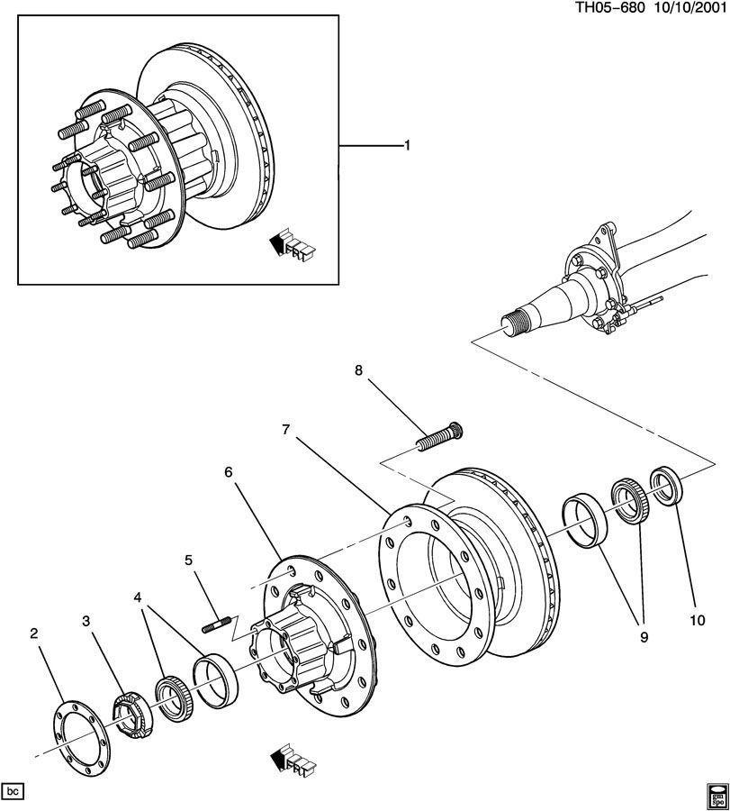 2003 kodiak rear wheel bearing axle hub nut 15045903