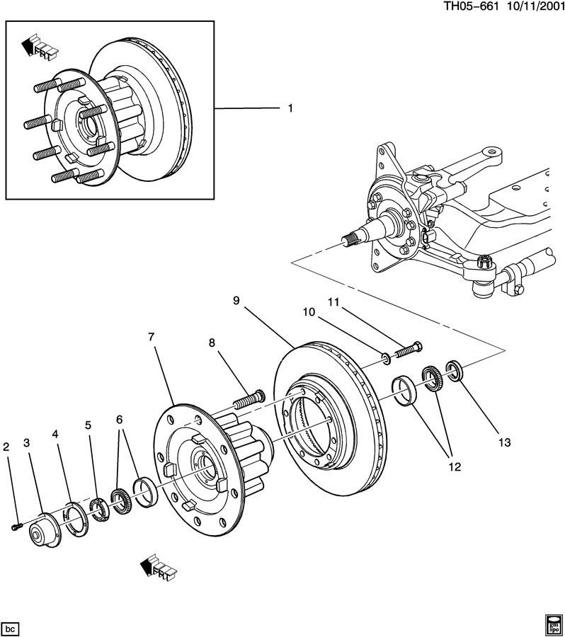 2003 kodiak front knuckle spindle axle wheel bearing nut new 15125100