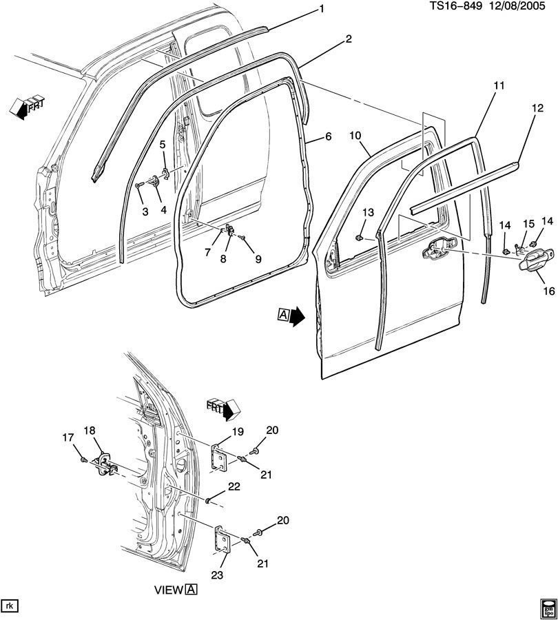 04 10 Chevy Colorado Rh Front Upper Door Hinge Bracket 15145010 15145010 on 2007 Hummer H3 Parts Diagram