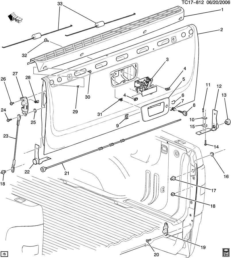 diagram of gmc 2007 pickup tailgate html