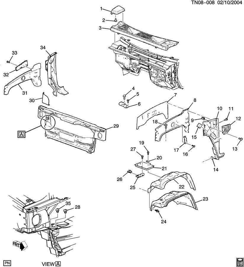 service manual  fender to radiator brace removal 2006