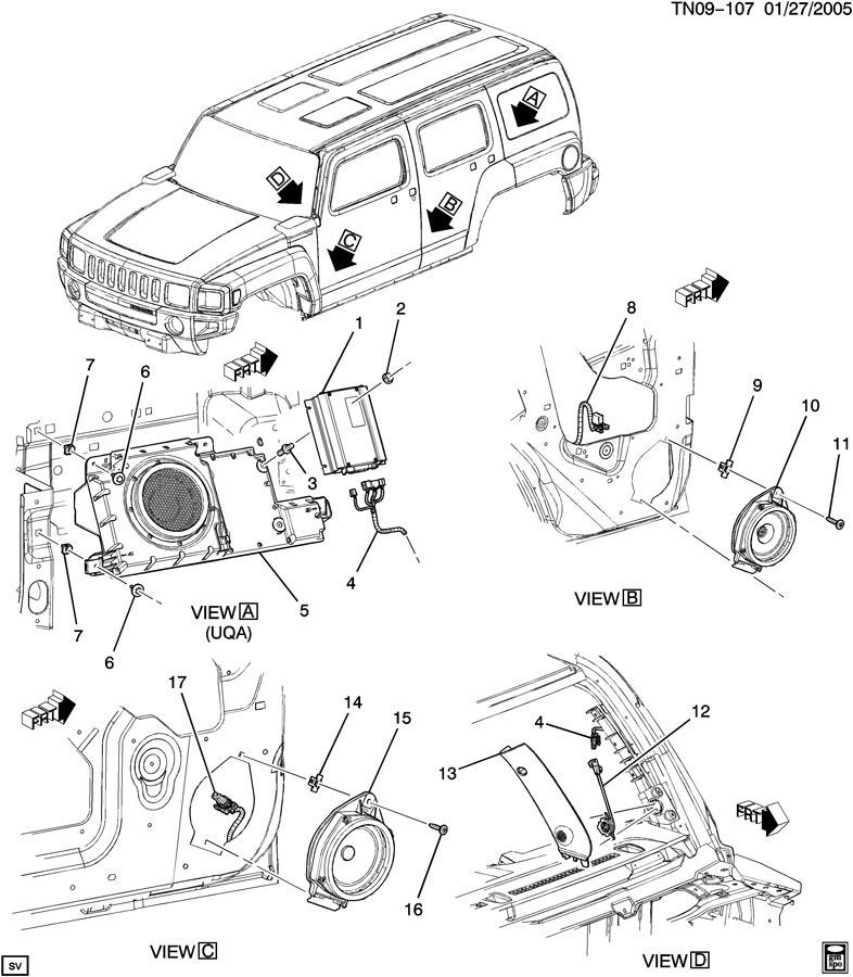 15851584 2006 2010 hummer h3 audio amplifier 8 channel new oem premium uqa audio 15851584 3 2009 hummer h3 radio wiring diagram hummer wiring diagrams for Hummer H2 Parts Diagram at gsmportal.co