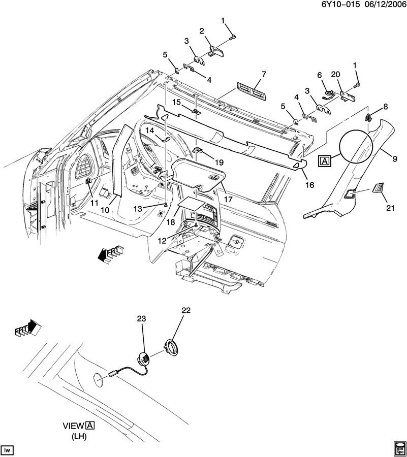 2006 2009 cadillac xlr v left upper a pillar ebony leather 15944597 rh factoryoemparts com Cadillac XLR Accessories Cadillac XLR Body Parts