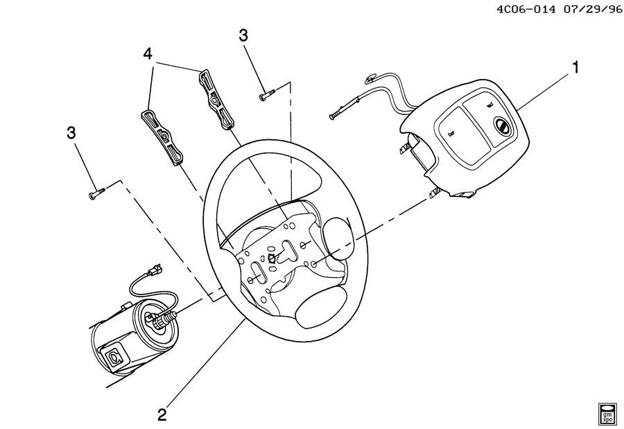 gm horn diagram 2000 1997 2005 buick park avenue steering wheel center airbag 5 wire horn diagram