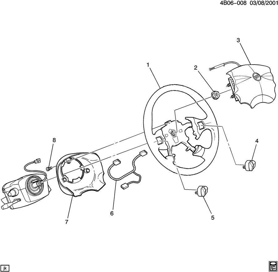 2002 2007 Buick Rendezvous Steering Wheel Wire Harness New