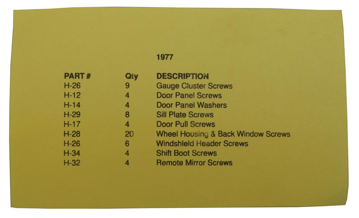 1977 Chevrolet Corvette C3 Interior Screw Kit Set 63