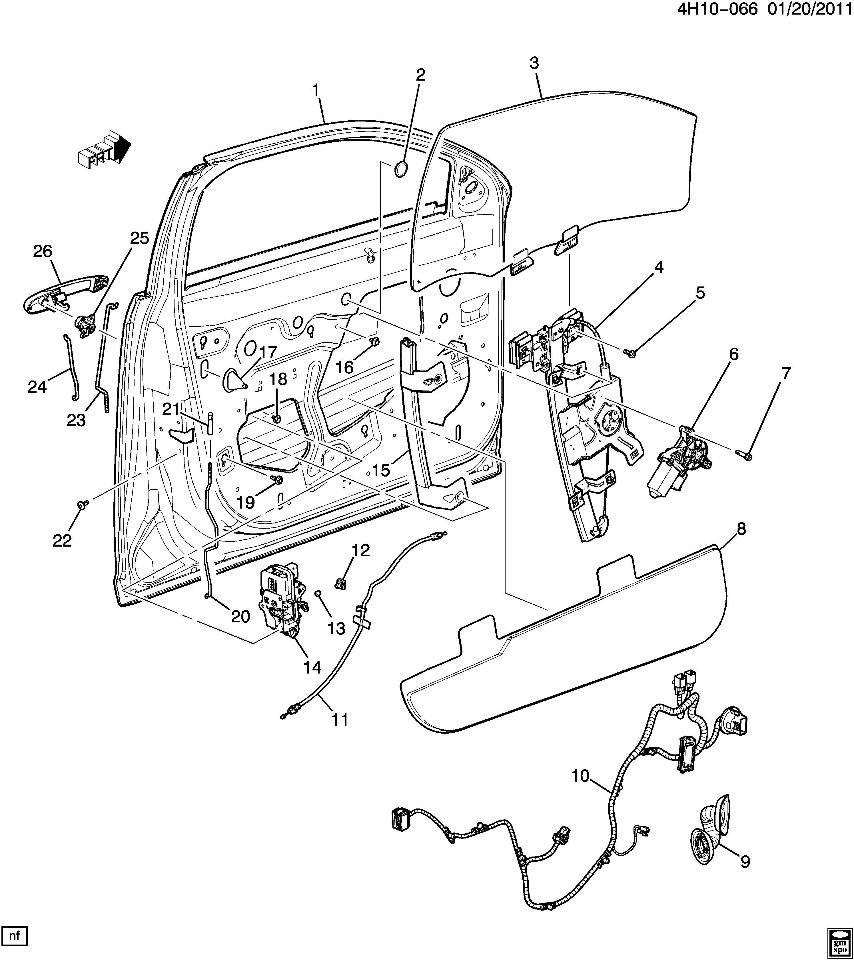 20815384 25967075 2011 buick lucerne wire harness lf driver side door new  oem wiring diagram