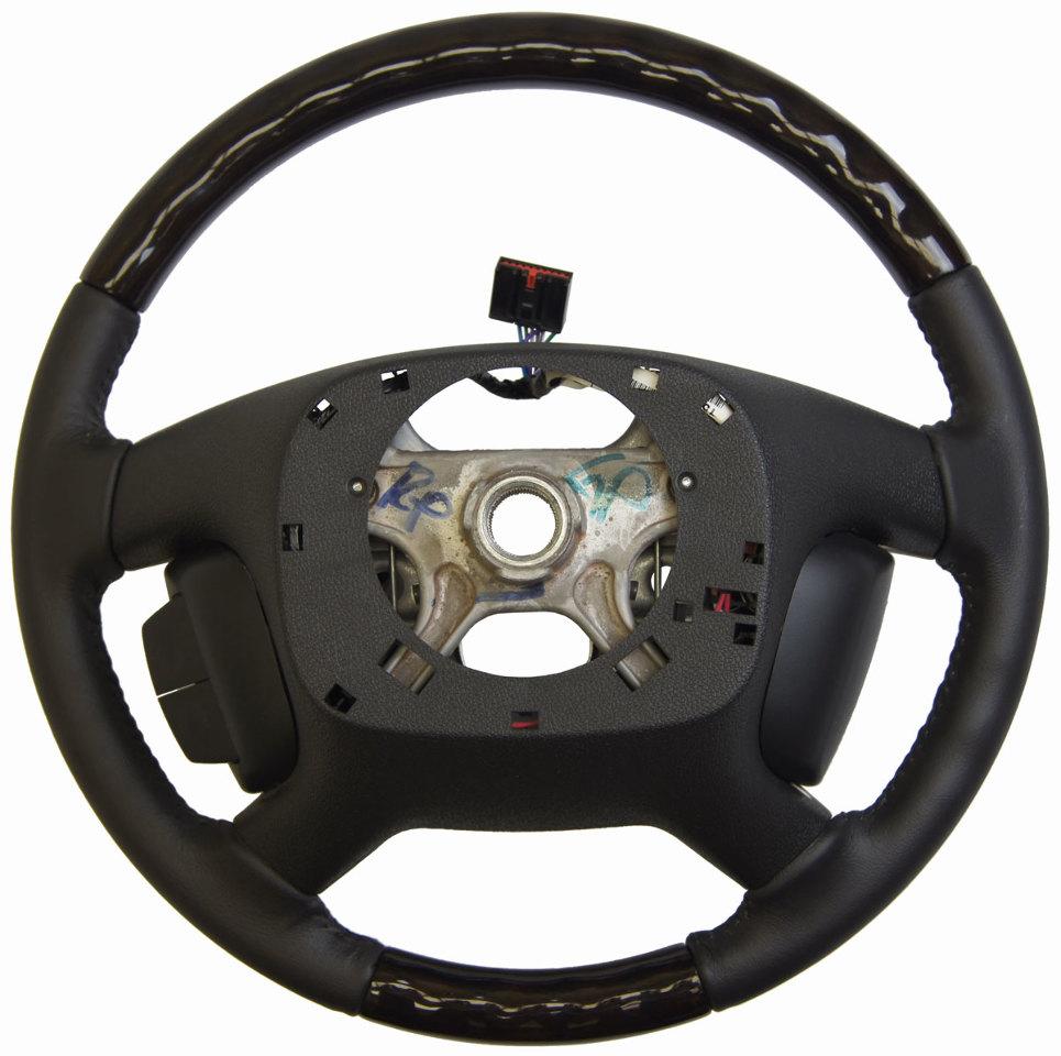 2013 16 enclave acadia steering wheel black leather w wood complete new 22818078 factory oem parts