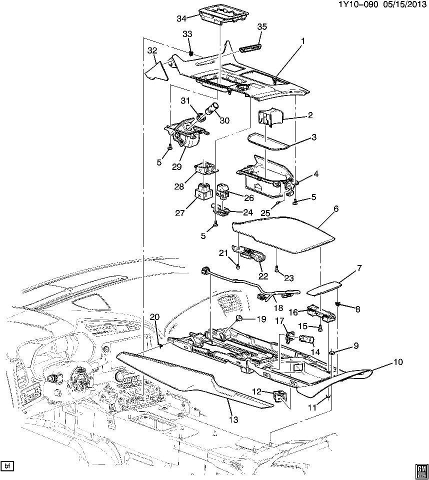 2015 Chevrolet Corvette C7 Center Console Left Trim New