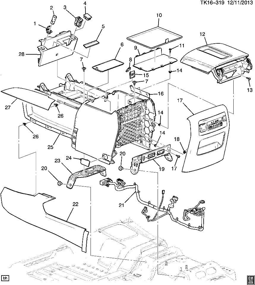 2015 gmc yukon/xl denali center console dark atmosphere ... gmc yukon parts diagram #5