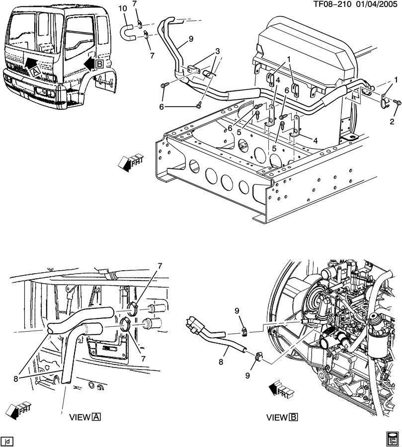2007 kodiak 7 8l diesel heater hose inlet