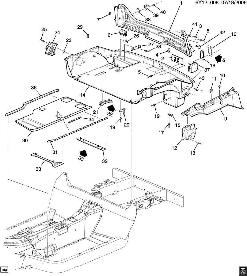 2007 Cadillac Xlr Interior: 2004-2009 Cadillac XLR Rear Compartment Floor Access Panel