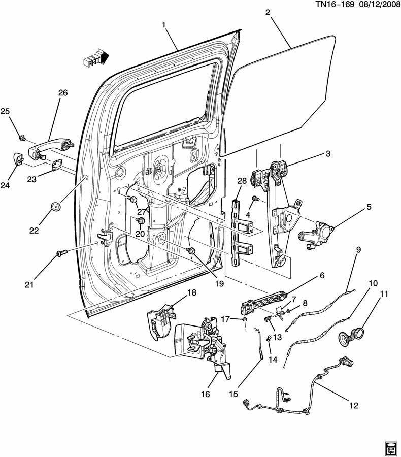 Hummer H3 Rear Door Parts Diagram