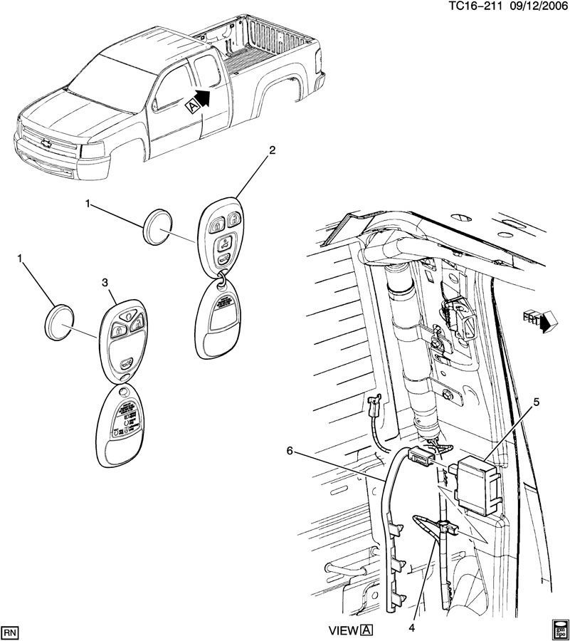 0711 Chevy Silverado    GMC    Sierra Remote Door Lock Antenna Wire 25880054 15224225   Factory OEM Parts