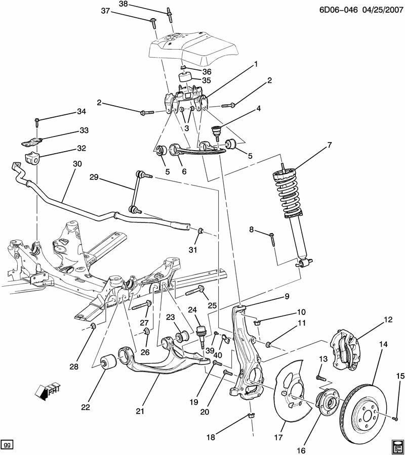 95 corvette front suspension diagram