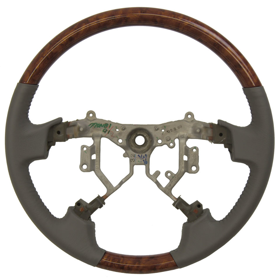 2005 2010 Toyota Avalon Steering Wheel Grey Leather W Wood Grain No Controls New Factory Oem Parts