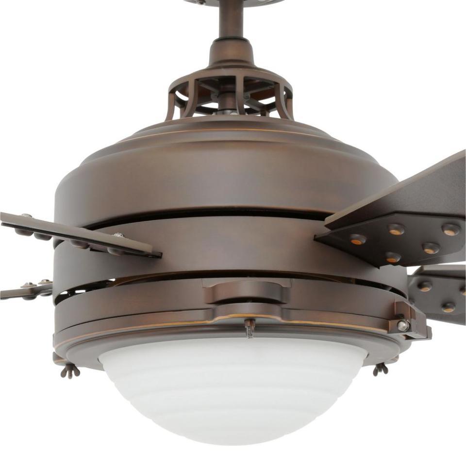 Vintage ceiling fans with lights -  Roman Bronze Vintage Industrial 5 Blade 52 Ceiling Fan W Light Kit