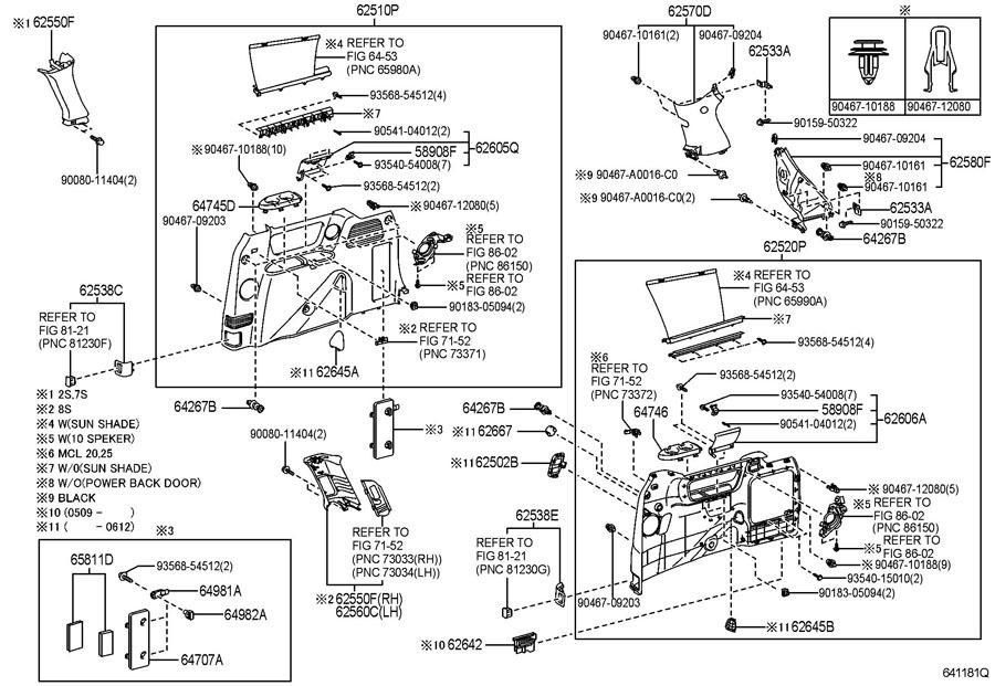 2004 07 Toyota Sienna Rear Left Lh Quarter Trim Piece New