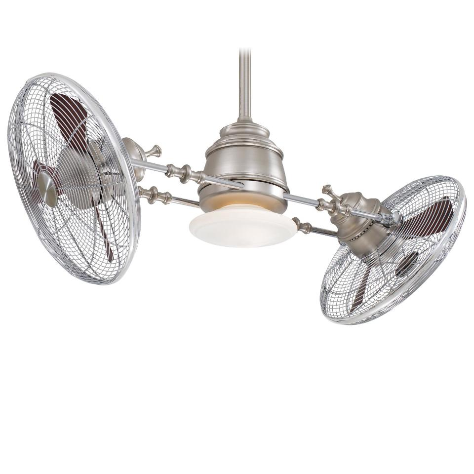 Minka Aire F802-BN/CH Vintage Gyro Brushed Nickel Ceiling Fan Light Wall Contol eBay