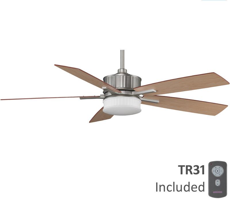 """Fanimation Landan 60""""Ceiling Fan w LED Light Remote Satin"""