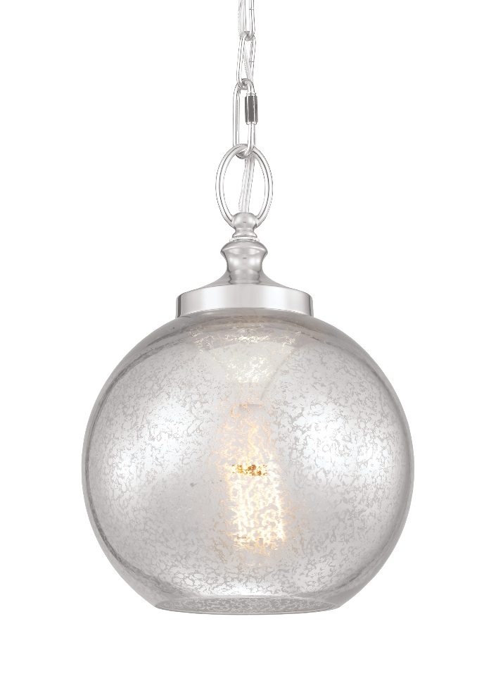 Polished Nickel Tabby 1 Light Mini Hanging Pendant W