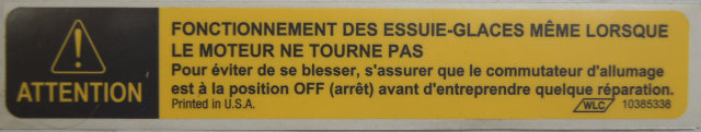 1997 09 Gmc Topkick Chevy Kodiak Caution Label French