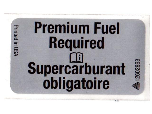 Genuine Gm Oem Premium Fuel Required Label Sticker Decal