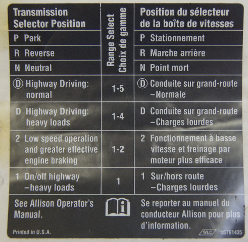 Gm Trucks Allison Transmission Gear Select Label French
