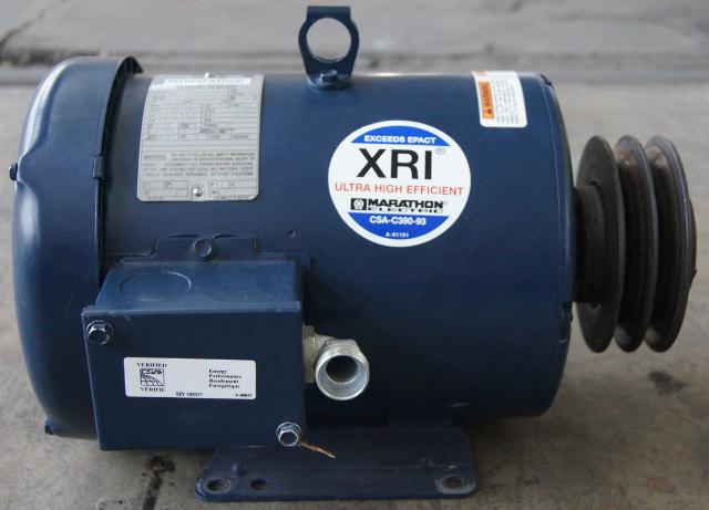 Marathon Electric XRI Motor 3 Phase 5HP 208-230/460V 1760RPM Used 184TTFW16026