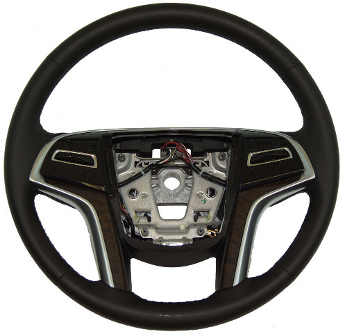 2013-2014 Cadillac XTS Steering Wheel Black Leather Wood Trim W/Heat 22988762