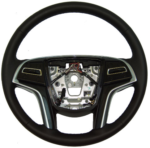 2013-2014 Cadillac XTS Steering Wheel Black Leather W/Wood W/Heat New 22964518