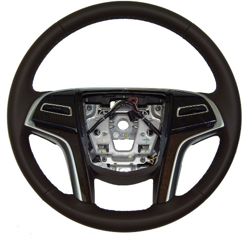 2013-2014 Cadillac XTS Steering Wheel Brown W/O Heat W/Paddle Shifters 22964522