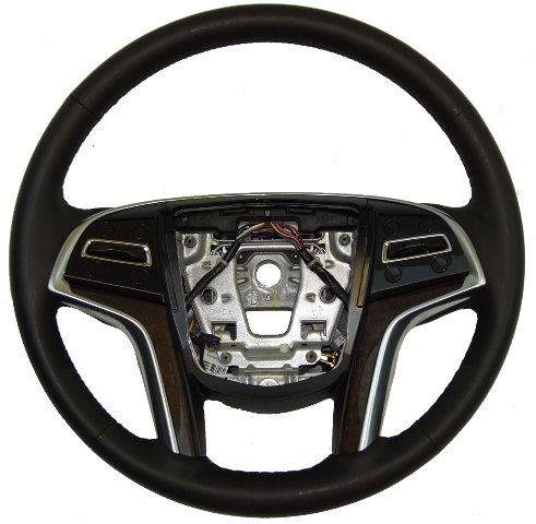 2013-2014 Cadillac XTS Steering Wheel Black Leather W/Brown Wood New 22964528