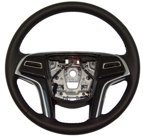 2013-2014 Cadillac XTS Steering Wheel Black Leather W/Wood Cruise Heat 22964529