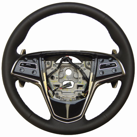 2013 Cadillac Ats Steering Wheel Black Leather W Paddle