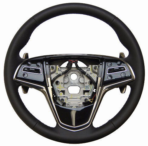 13 17 cadillac ats steering wheel black leather w paddle shift 23114444 84111905 factory oem parts