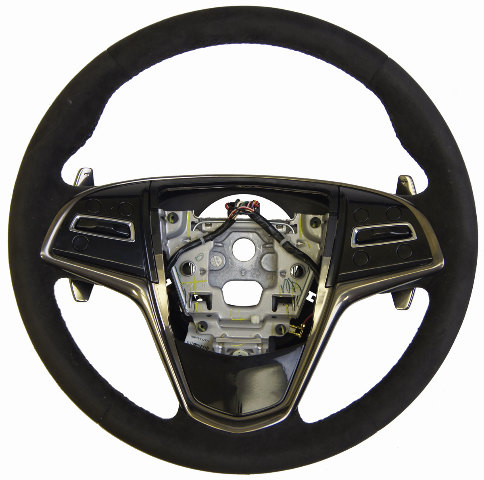 2013 14 Cadillac Ats Steering Wheel Black Suede W Paddle Shift New Oem 23455821