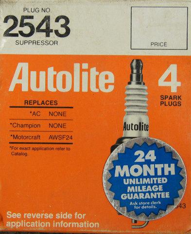 Autolite Spark Plugs 2543 Copper Core Pack Of 4 Nos