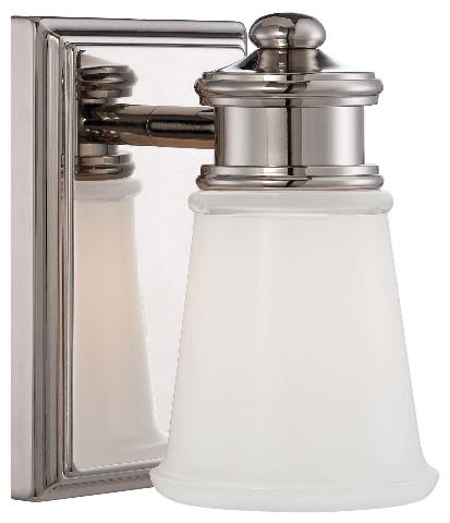 Minka Lavery 4531 613 Transitional 1 Light Bathroom Wall Sconce Polished Nickel