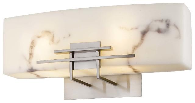 George Kovacs Brushed Nickel Five Light Bath Fixture In: Minka Lavery 6162-84-PL Alabaster Dust 2-Light Bathroom
