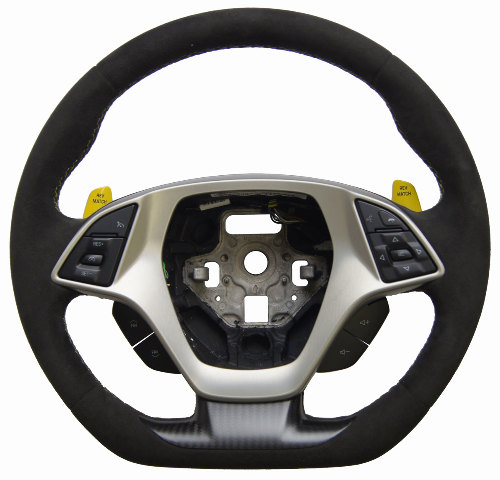 2014 2018 Corvette C7 Steering Wheel Black Suede W Yellow