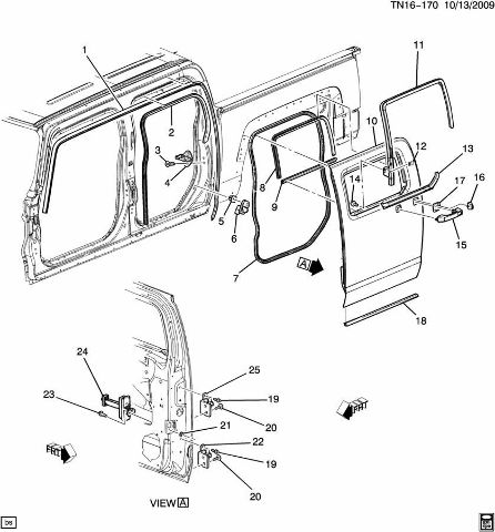 09 10 Hummer H3T Rear Door Body Weatherstrip 93355101