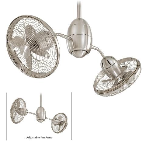Minka Aire Gyrette F302-BN Brush Nickel Dual Motor Ceiling Fan w/Remote - OPENBOX