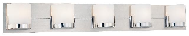 George Kovacs P5955-077 Convex Collection 5-Light Bathroom Vanity - Chrome