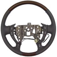 2002-2004 Cadillac DeVille Seville Steering Wheel Dark Gray Leather W/Wood New