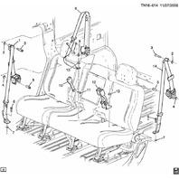 2005-2009 Hummer H2 SUT RH Rear (Passenger Side) Seat Belt Assembly 25880320