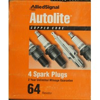 Autolite Spark Plugs # 64 Copper Core Pack of 4 NOS
