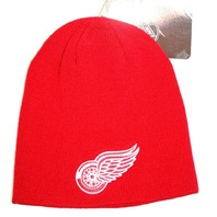 Detroit Red Wings NHL Uncuffed Classic Knit Winter Beanie Toque Hat