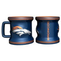 Set Of 2 - NFL Licensed Denver Broncos Sculpted 2oz Mini Mug Shot Glass